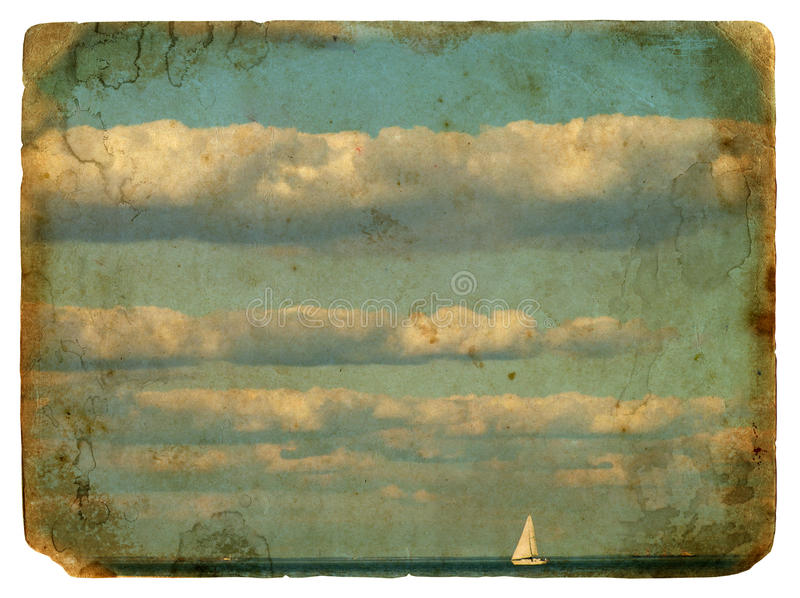 Sailing yacht and clouds. Old postcard. royalty free illustration