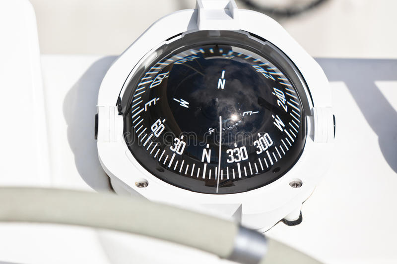 Sailing yacht compass stock photo