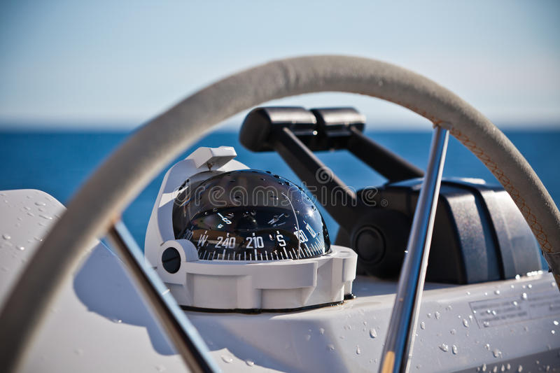 Sailing yacht control wheel and implement. Horizontal shot without people royalty free stock photo