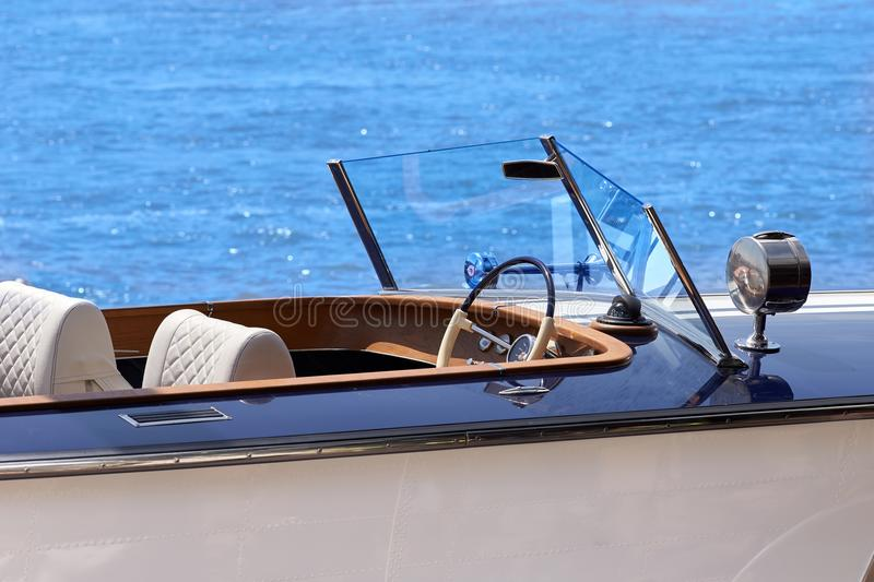 Luxury yacht control wheel and navigation implement. stock photography
