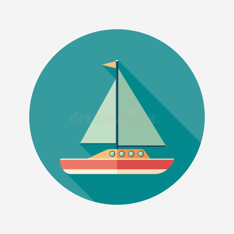 Sailing yacht flat round icon with long shadows. vector illustration