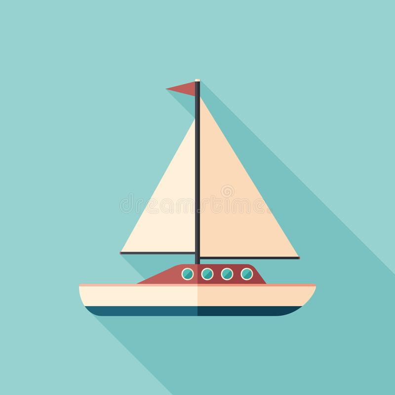 Sailing yacht flat square icon with long shadows. royalty free illustration