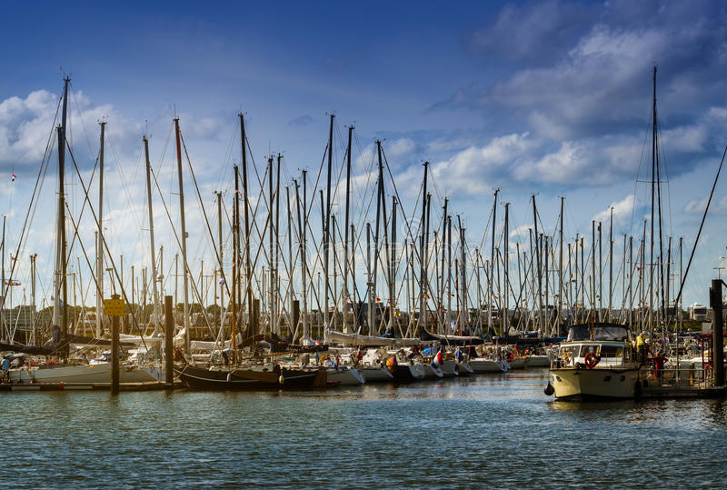 Sailing yacht harbor with many sailboats in the evening light ag royalty free stock image