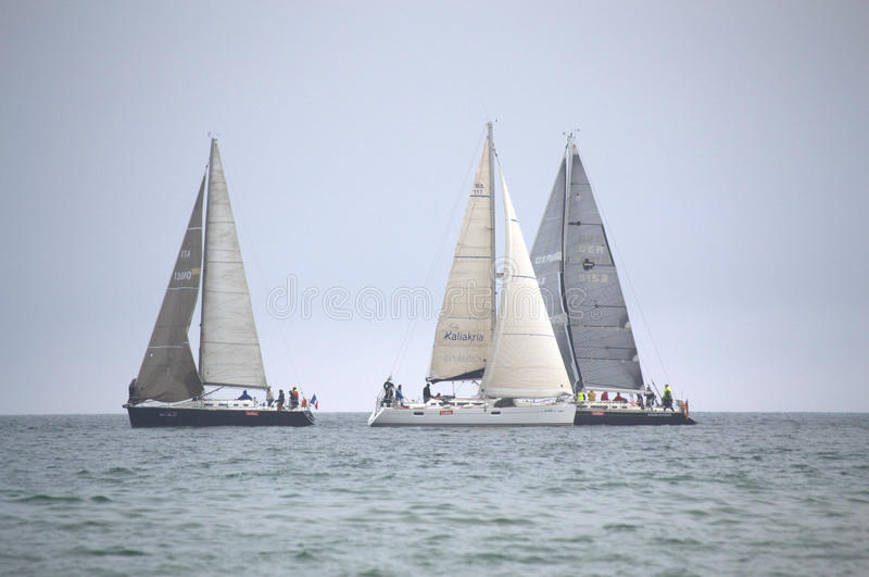 Sailing yachts contest royalty free stock photography