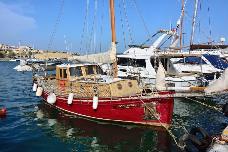 Sailing yacht moored in marina. Greece stock photo