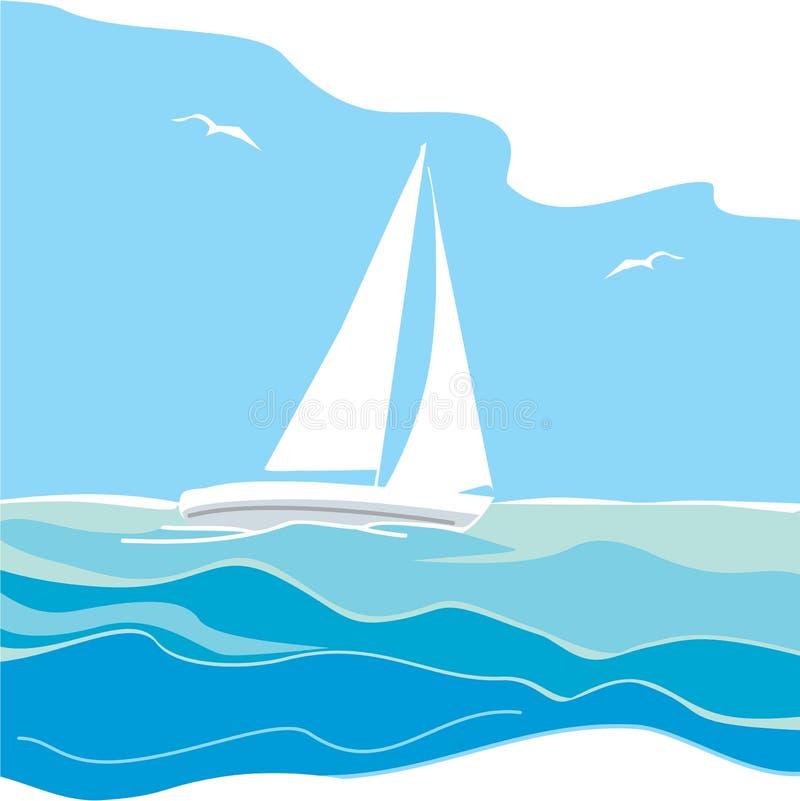 Sailing yacht on the sea. Sail on sky's backround vector illustration