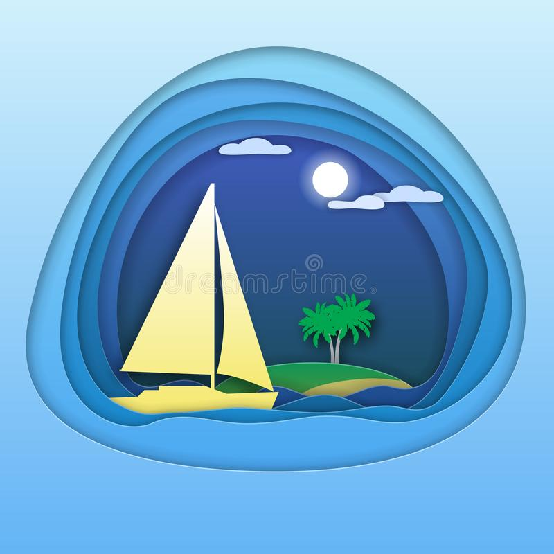 Sailing yacht at sea with palm trees on island. Tourist card illustration in paper cut style royalty free illustration