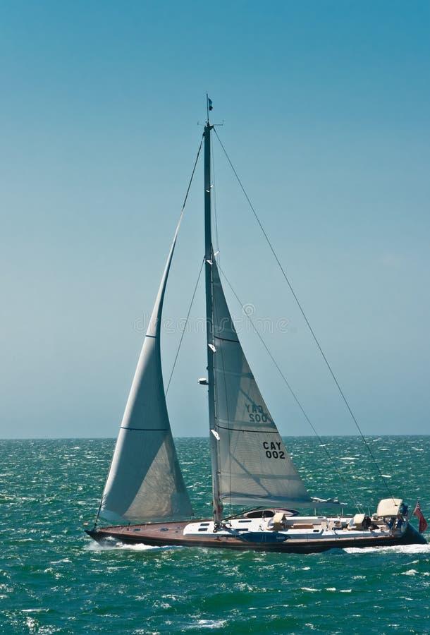 Sailing yacht under full sail off nantucket island stock photography
