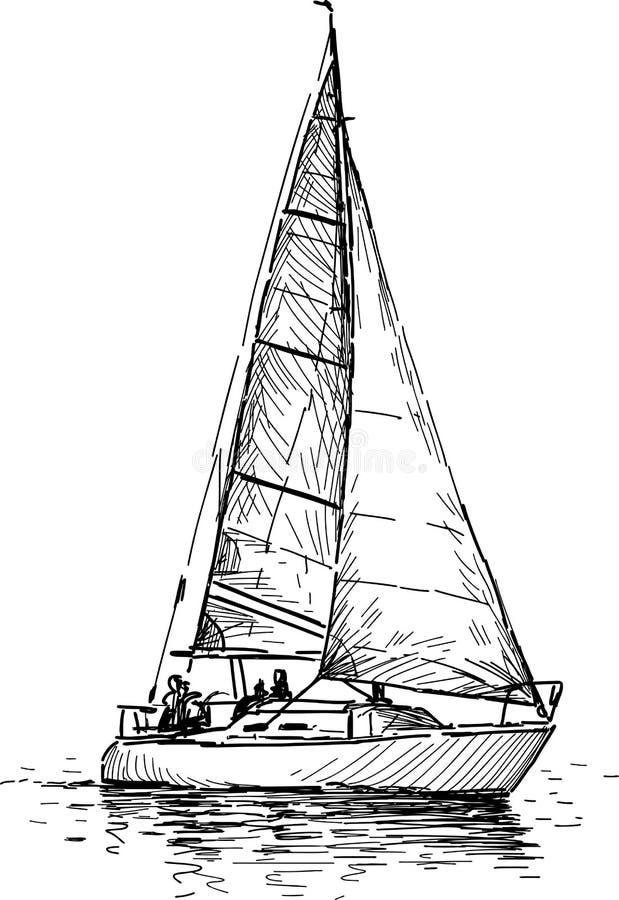 Vintage Sailboat Sketch Sailing yacht s...