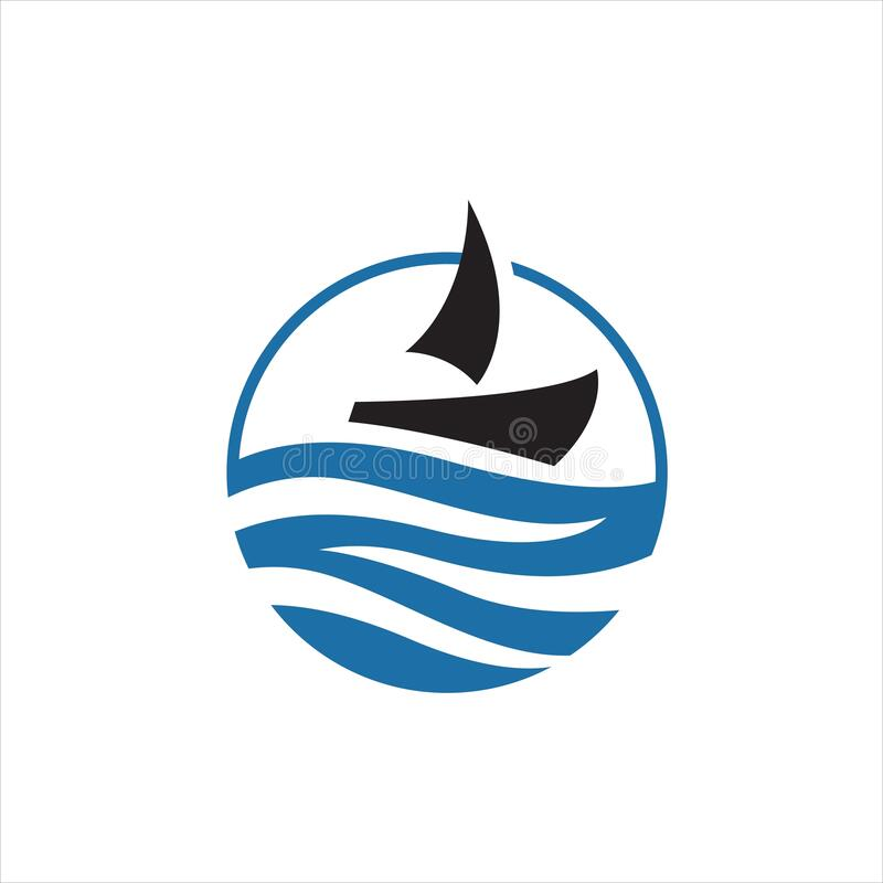 sailing yacht on the water wave template concept ship boat logo design vector royalty free illustration