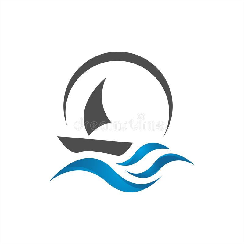 sailing yacht on the water wave template concept ship boat logo design vector vector illustration
