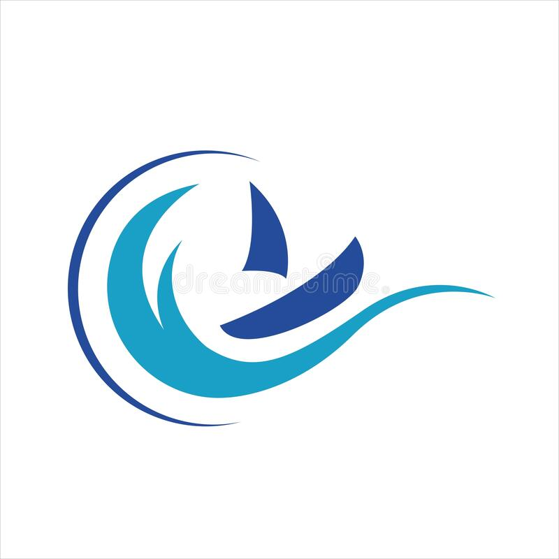 sailing yacht on the water wave template concept ship boat logo design vector stock illustration