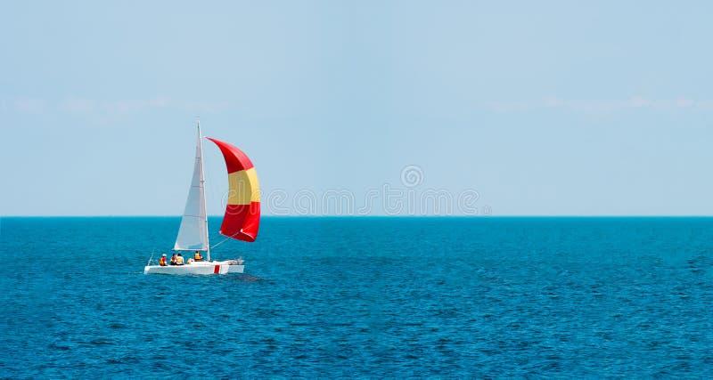 sailing yachting tourism Estilo de vida luxuoso Iate do navio com velas brancas imagens de stock