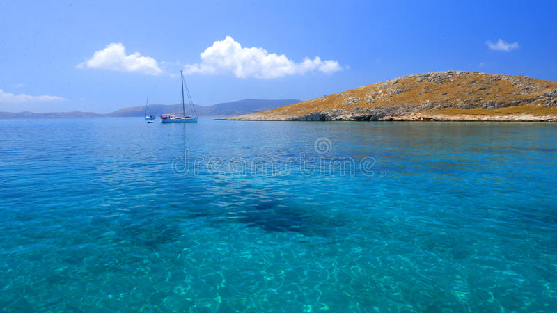 Sailing yachts by Leipsoi island stock photos