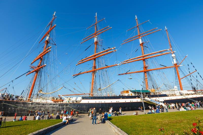 sailingship Sedov do Quatro-mestre em Gdynia É o navio de navigação de formação o maior no mundo fotos de stock