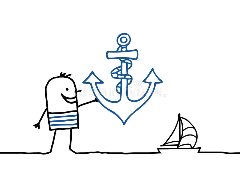 Sailor and anchor stock illustration