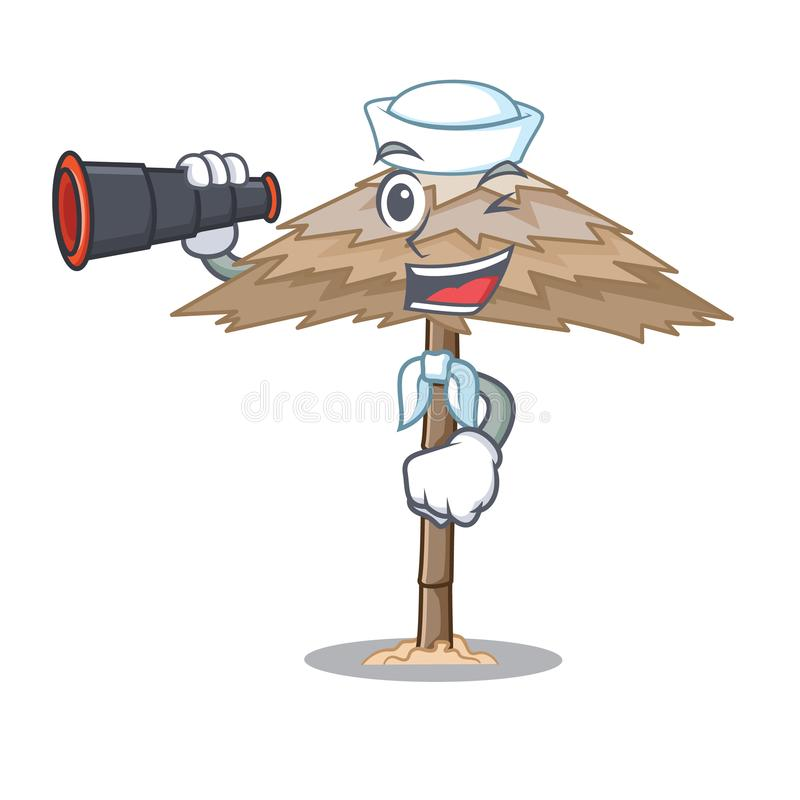 Sailor with binocular beach shelter under the umbrella cartoon. Vector illustration stock illustration
