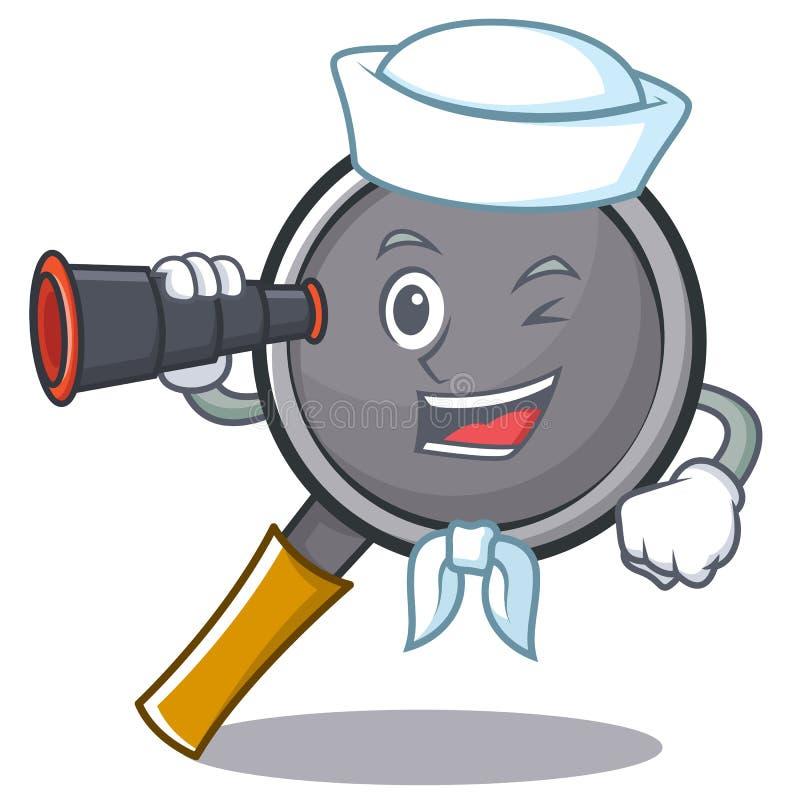 Sailor with binocular frying pan cartoon character. Vector illustration vector illustration