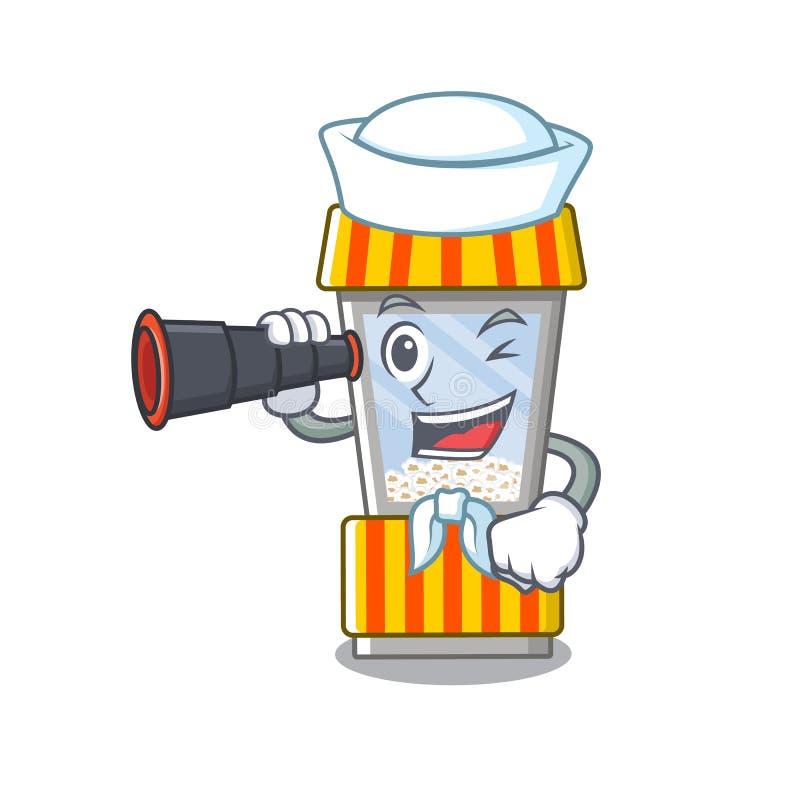 Sailor with binocular popcorn vending machine is formed cartoon. Illustration vector royalty free illustration
