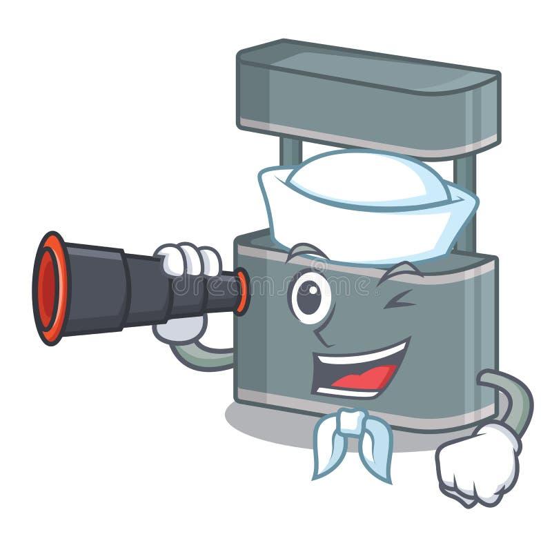 Sailor with binocular trade stand on the cartoon roadside. Vector illustration vector illustration
