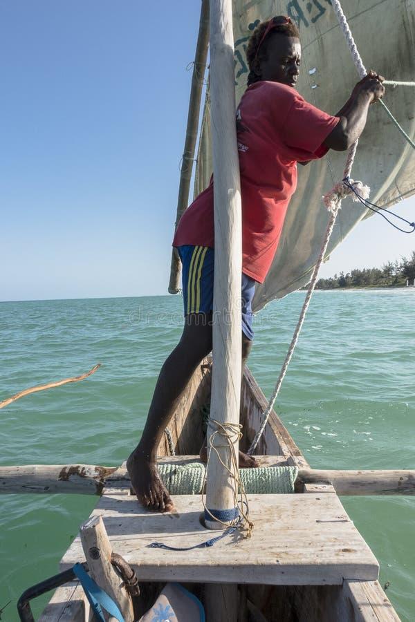 Sailor on the boat in Zanzibar royalty free stock photography