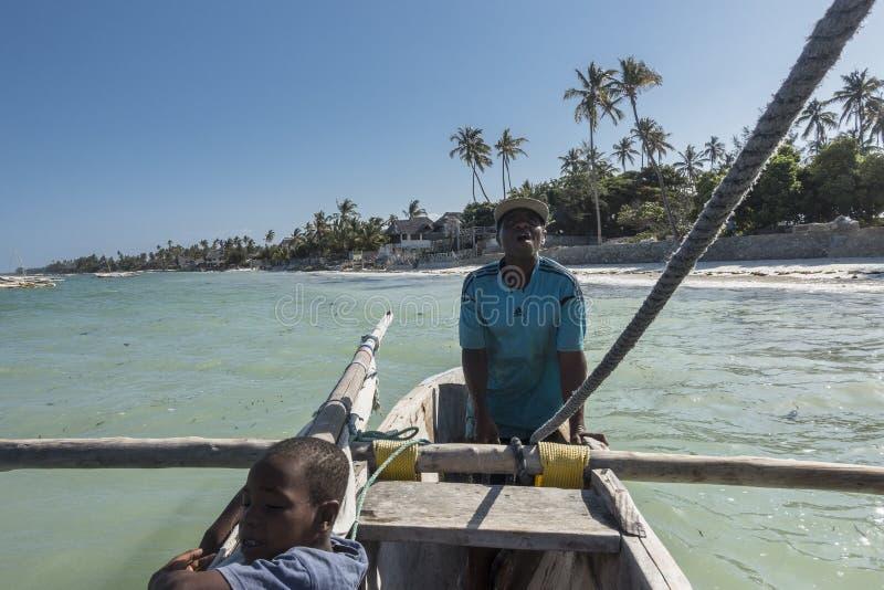 Sailor on the boat in Zanzibar stock photos