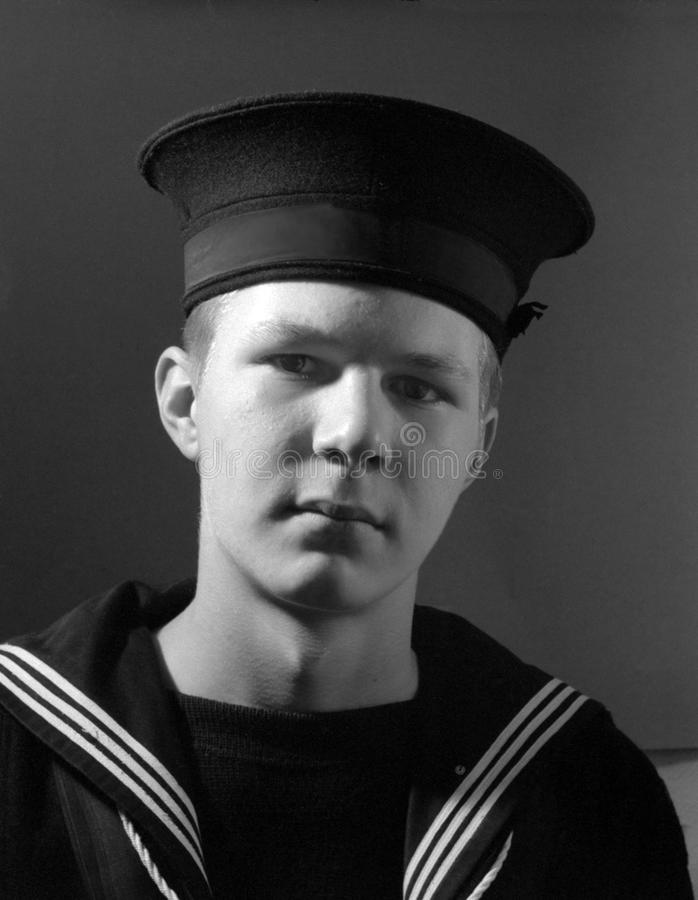 Navy Cadet Portrait Canada. Canadian Sea Cadet in uniform, circa 1950s. See editorial version to include text on the headband stock images