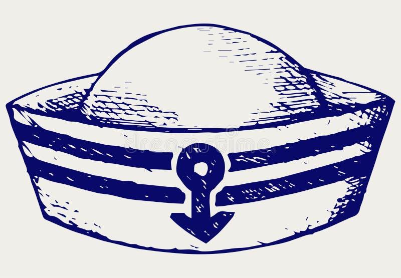 Sailor cap. Doodle style. Vector EPS 8 stock illustration