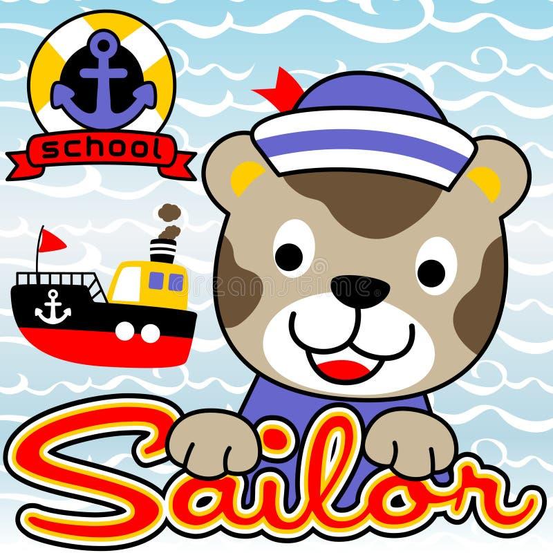 Sailor cat cartoon vector illustration