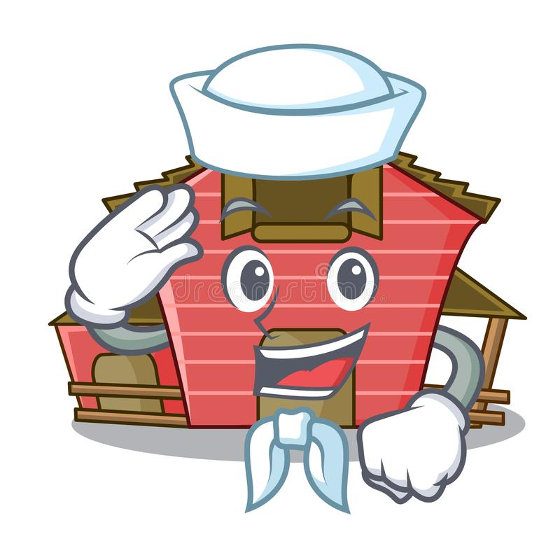 Sailor character red barn building with haystack. Vector illustration stock illustration