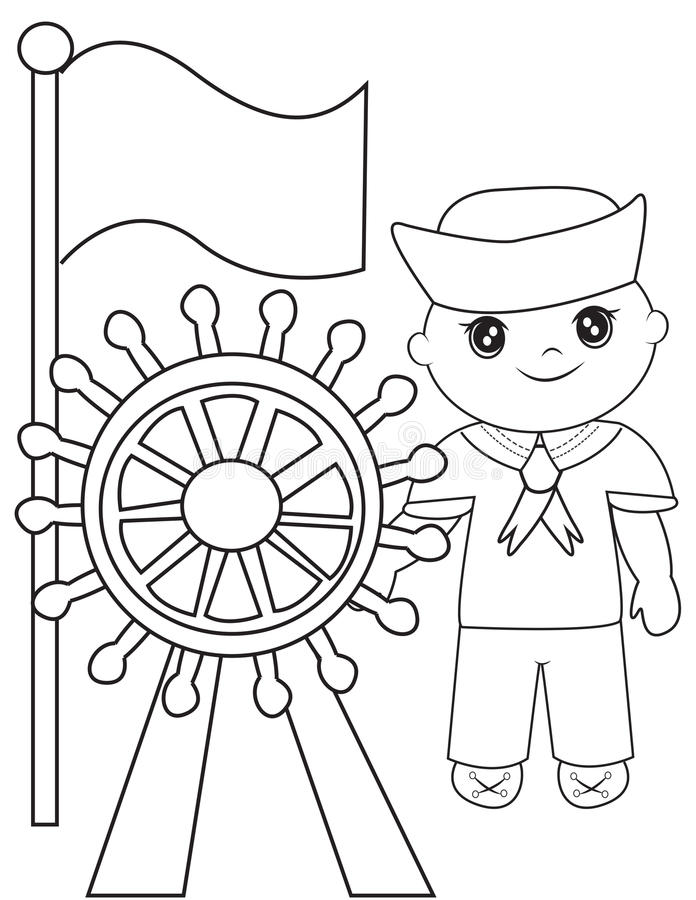 Sailor Coloring Page Stock Illustration Image 50541717