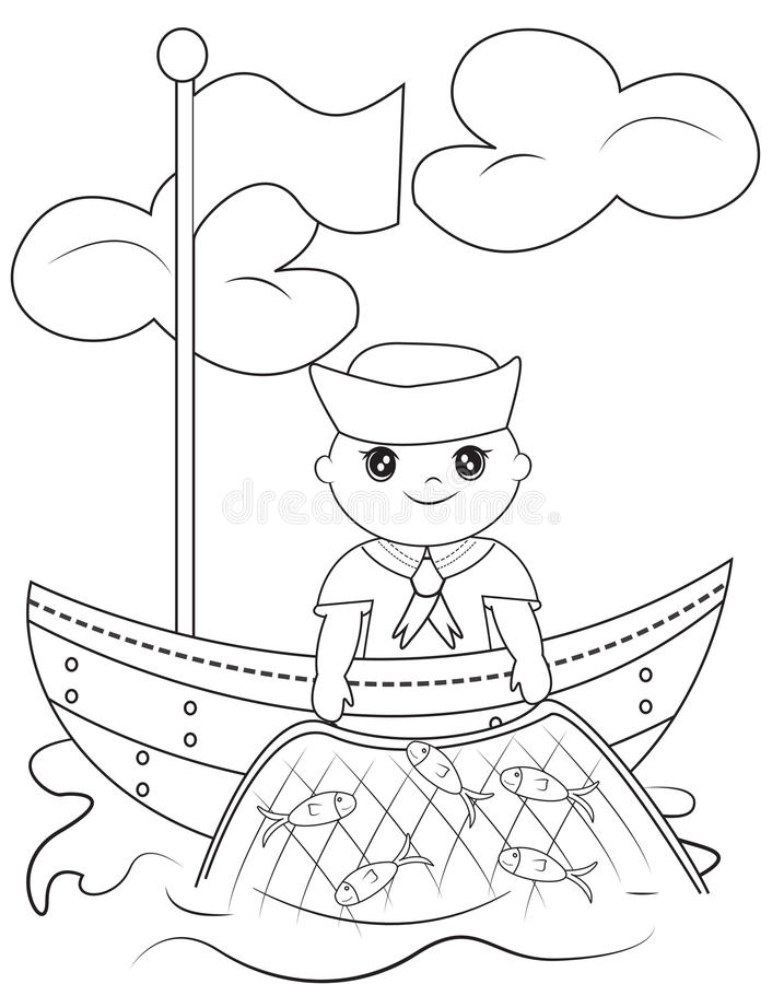 Sailor coloring page stock illustration image 50541724 for Navy sailor coloring pages