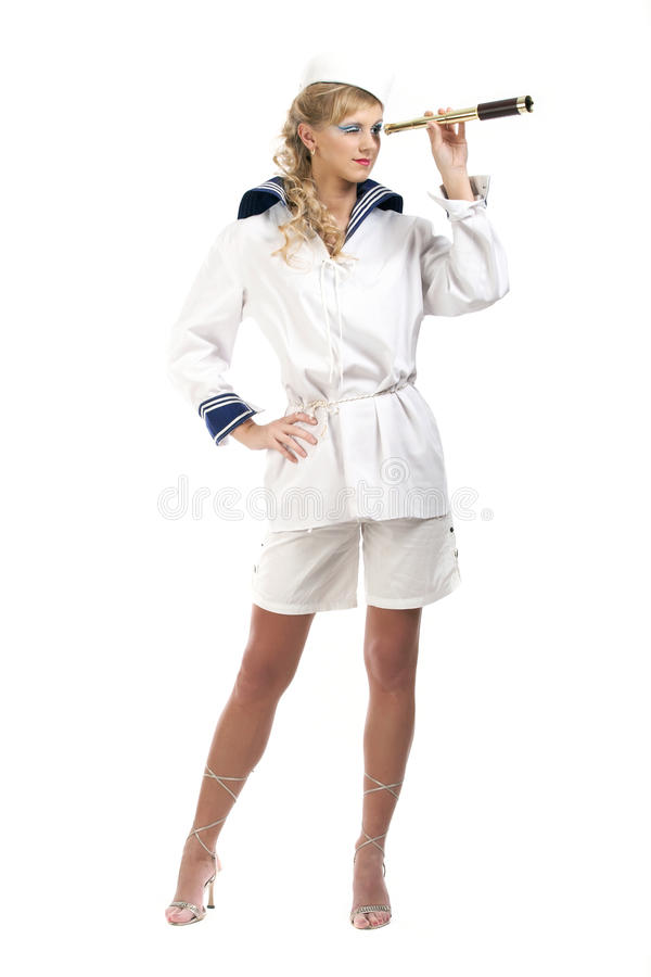 Free Sailor Girl With Telescope Stock Photo - 16640710