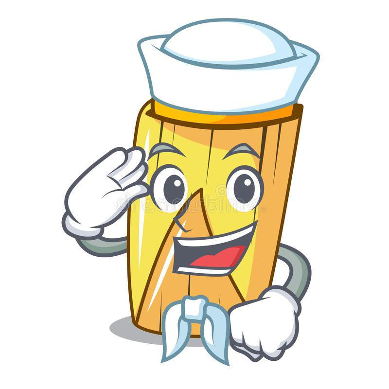 Sailor homemade zawinięte tamales izolowane na maskocie ilustracji