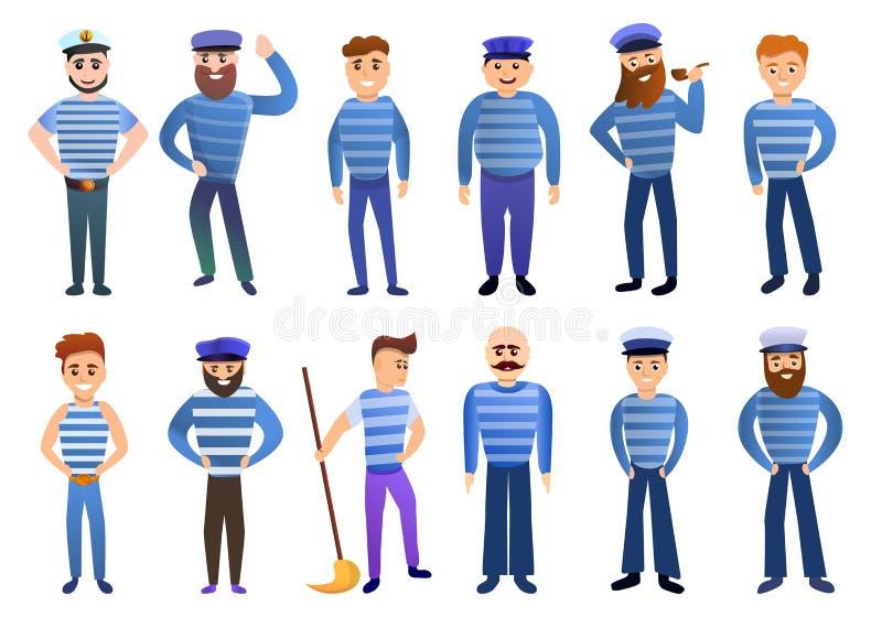 Sailor icons set, cartoon style royalty free illustration