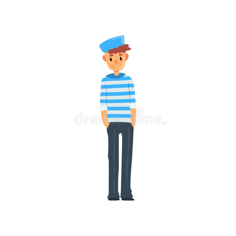 Free Sailor Man Character In Striped Singlet And Cap Vector Illustration On A White Background Royalty Free Stock Photo - 126596205