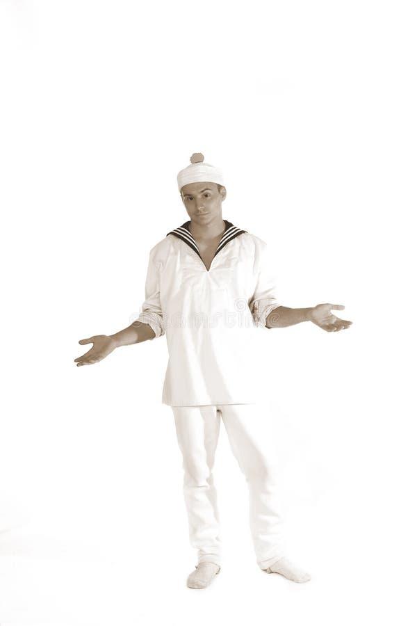 Sailor man shrugs b/w stock photo