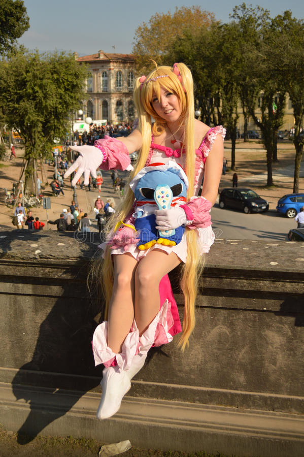 Sailor moon's cosplayer at Lucca Comics and Games 2014 royalty free stock photos