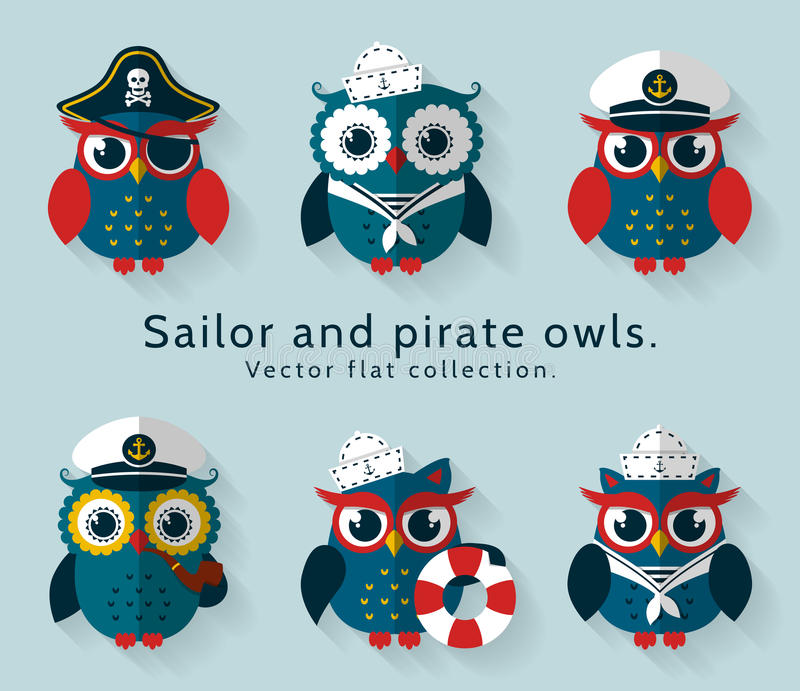 Sailor and pirate owl. Vector set. Ahoy! Set of sailor, captain and pirate owls for sea and nautical design. Funny icons isolated on blue background. Vector