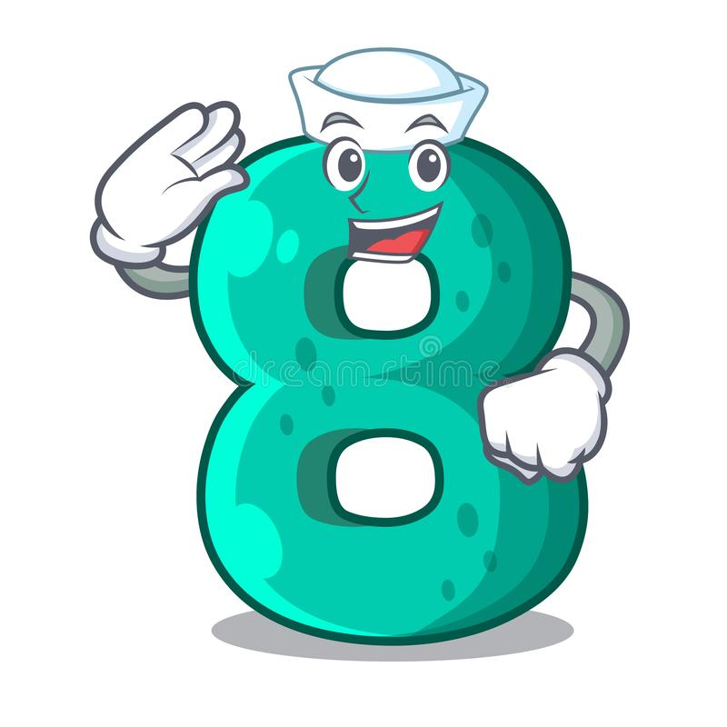 Sailor raster version cartoon shaped Number Eight. Vector illustration stock illustration