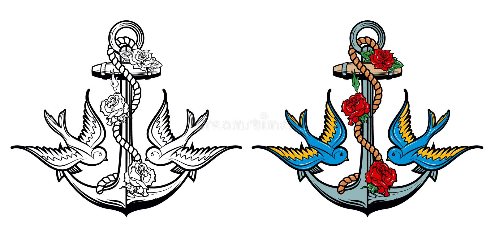 Sailor spirit. Anchor with roses and birds on grunge background. Old school tattoo style anchor. Vector illustration royalty free illustration
