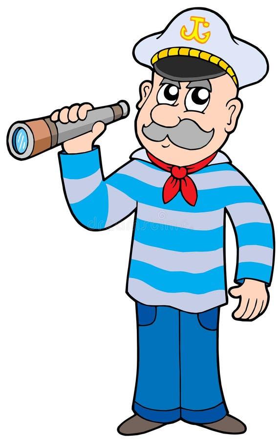 Sailor with spyglass stock illustration