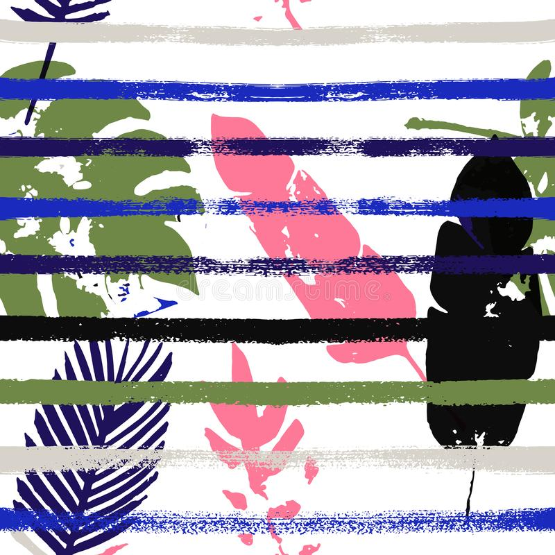 Sailor Stripes Vector Seamless Pattern, Green, Pink, Gray, Brown Floral Design. Sketched royalty free illustration