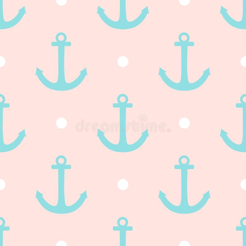 Sailor Vector Pattern With White Polka Dots And Mint Green ...