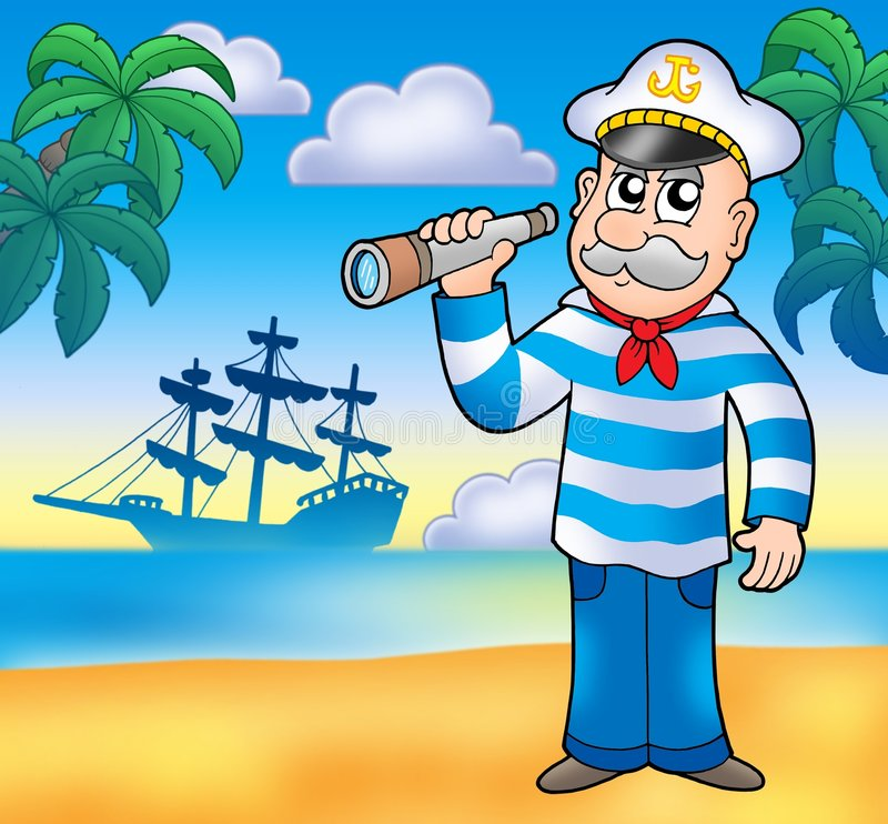 Free Sailor With Spyglass On Beach Royalty Free Stock Photography - 8898587
