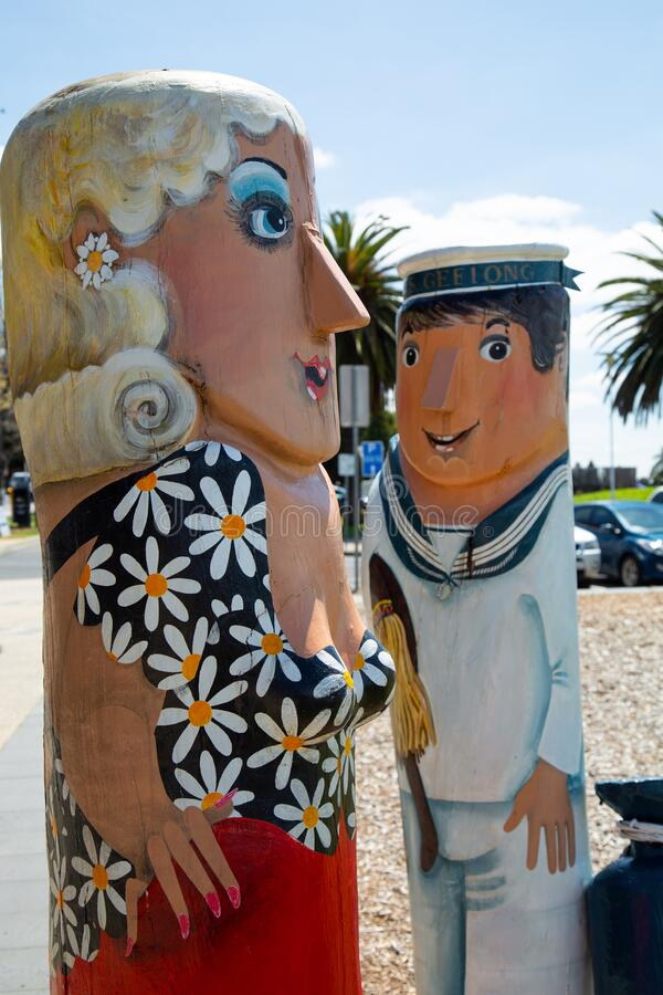 Sailor and woman sculpture in Geelong in Australia royalty free stock photo