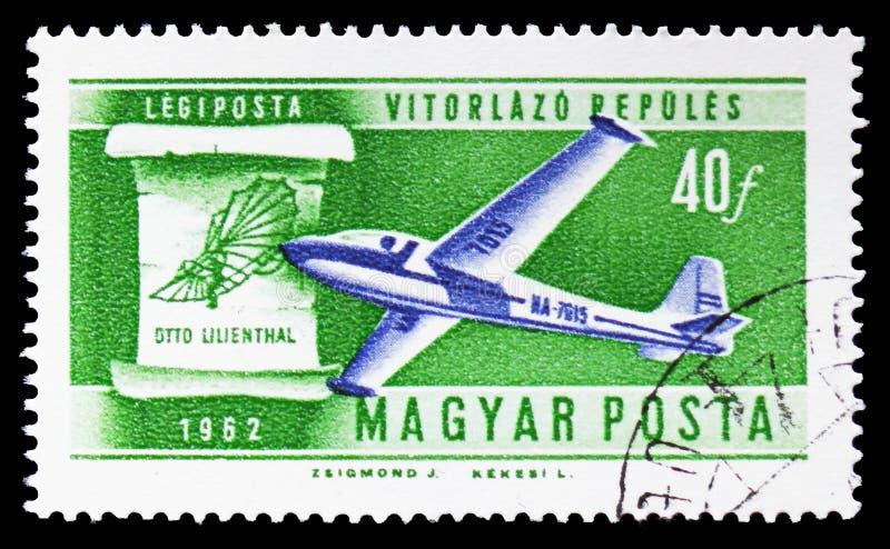 Sailplane en van Lilienthal 1898 ontwerp, Geschiedenis van Luchtvaart serie, circa 1962 royalty-vrije illustratie