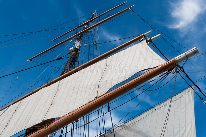 Sails and Mast of Vintage Tall Ship stock images