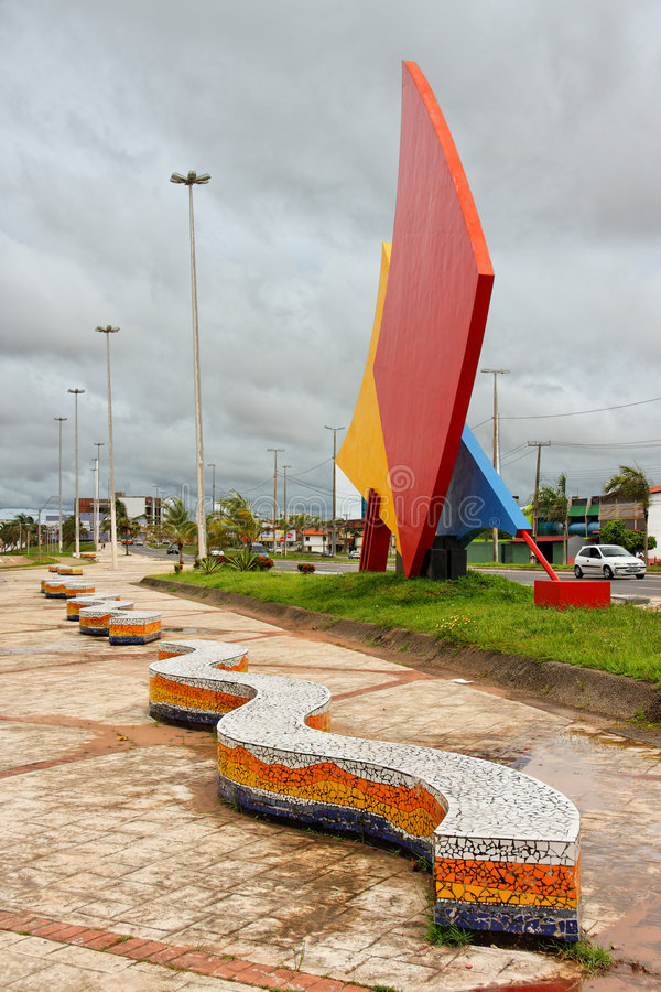 Sails Monument Sao Luis of Maranhao. Three colorful sails, red, yellow and blue, monument in the city of Sao Luis of Maranhao, north of Brazil and two serpent stock photos