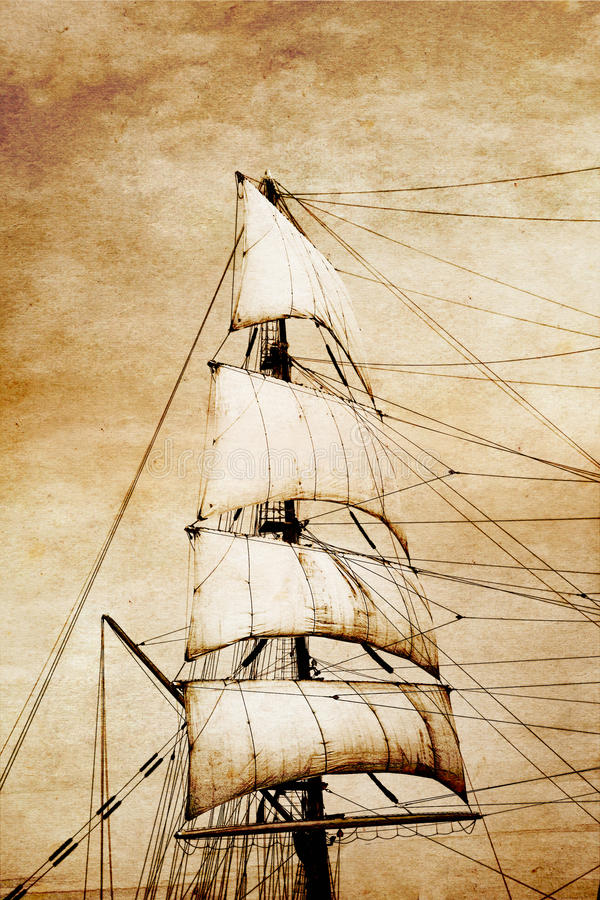 Download Sails on old paper stock illustration. Illustration of classic - 19888091